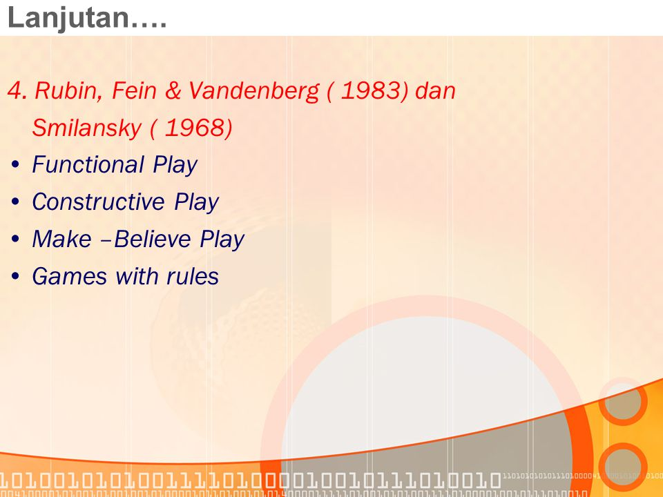 Lanjutan…. 4. Rubin, Fein & Vandenberg ( 1983) dan Smilansky ( 1968)