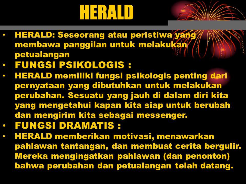 HERALD FUNGSI PSIKOLOGIS : FUNGSI DRAMATIS :