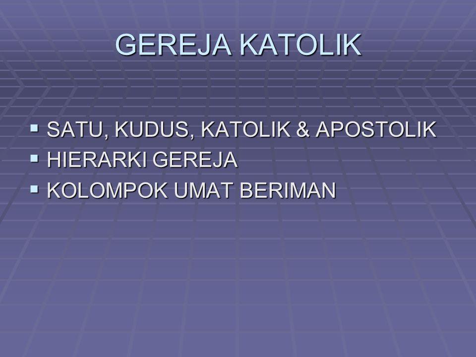GEREJA KATOLIK SATU, KUDUS, KATOLIK & APOSTOLIK HIERARKI GEREJA