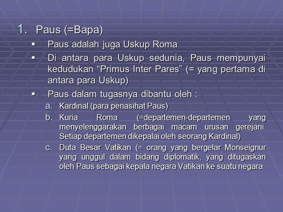 Paus (=Bapa) Paus adalah juga Uskup Roma
