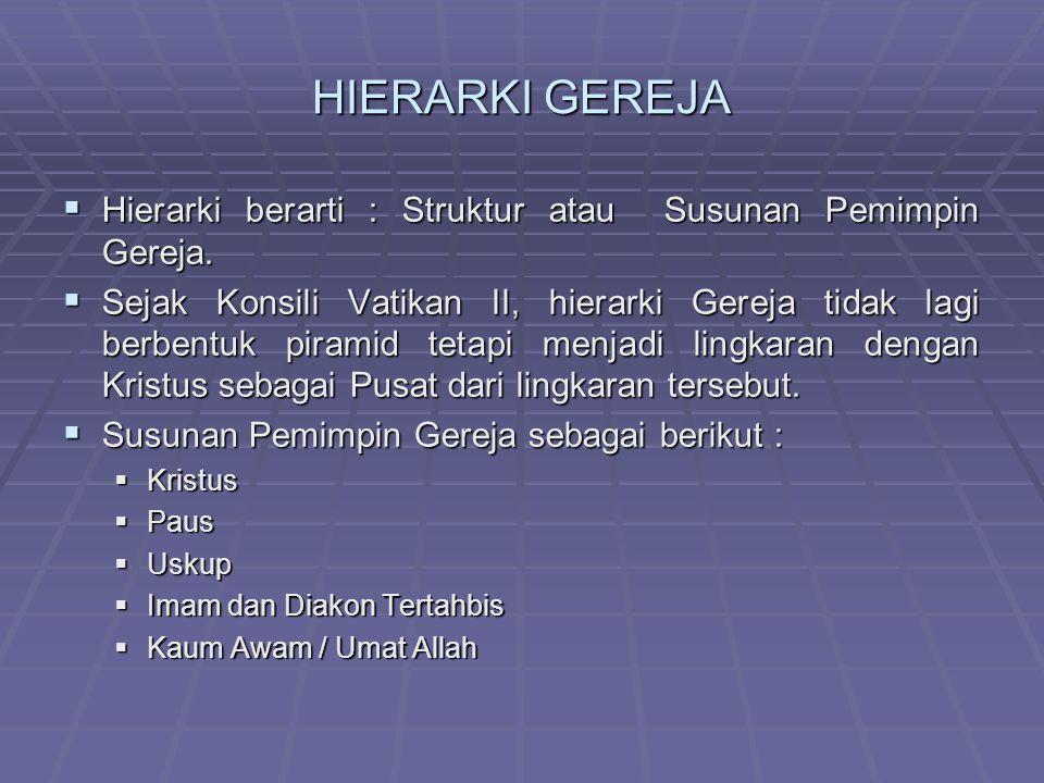 HIERARKI GEREJA Hierarki berarti : Struktur atau Susunan Pemimpin Gereja.