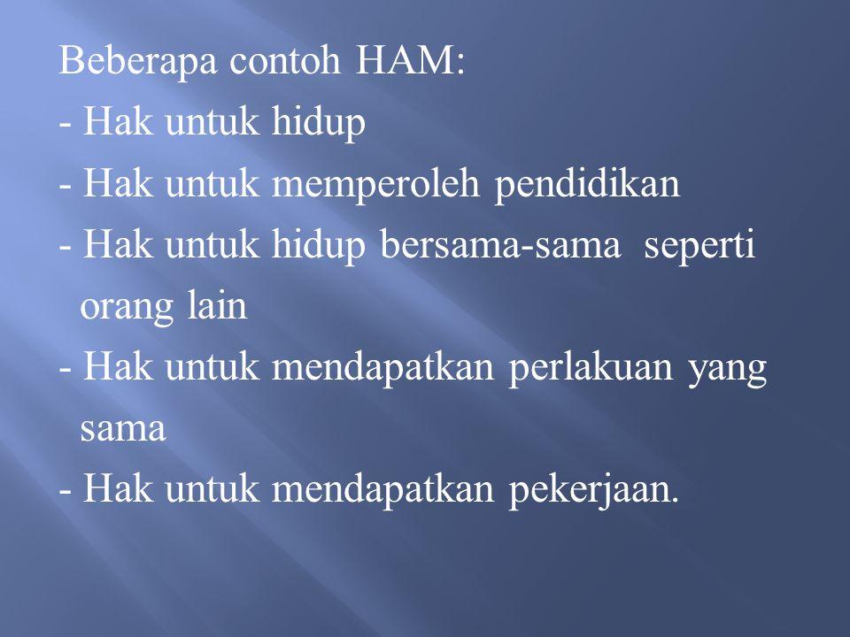 Beberapa contoh HAM: - Hak untuk hidup. - Hak untuk memperoleh pendidikan. - Hak untuk hidup bersama-sama seperti.