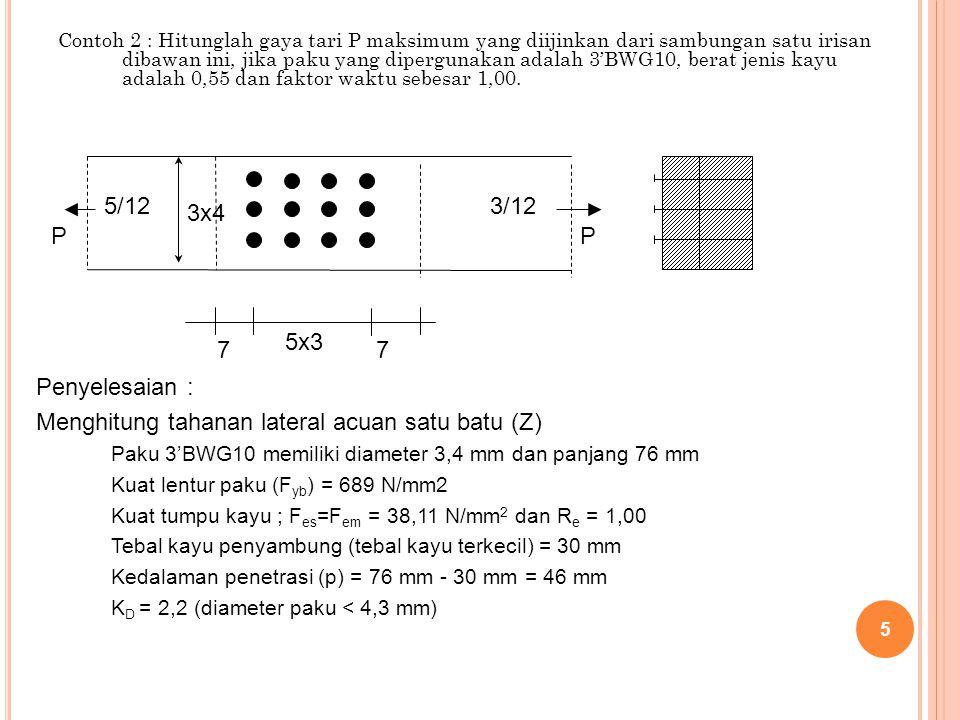 Menghitung tahanan lateral acuan satu batu (Z)