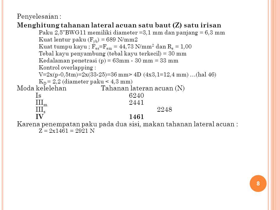 Menghitung tahanan lateral acuan satu baut (Z) satu irisan