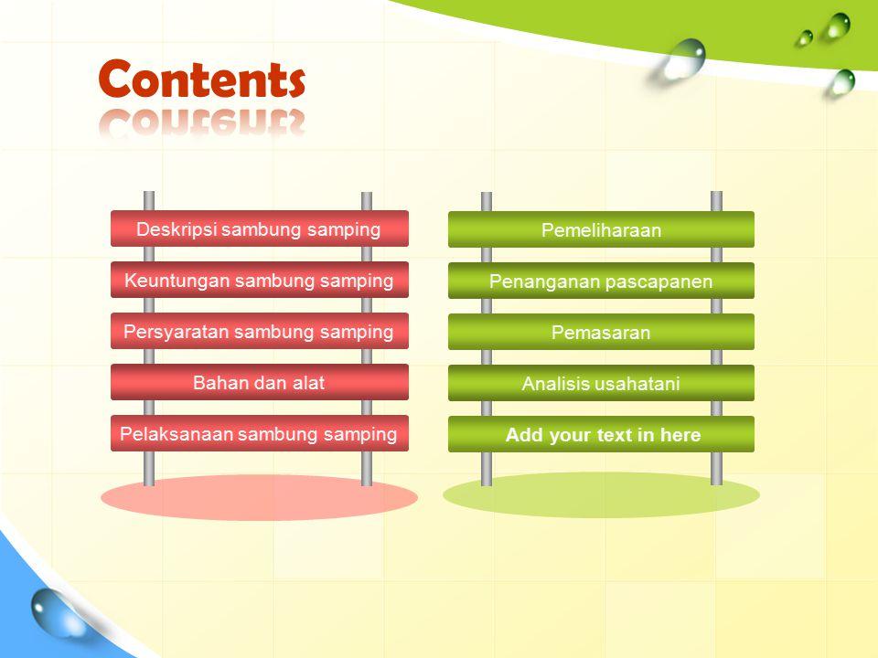 Contents Deskripsi sambung samping Keuntungan sambung samping