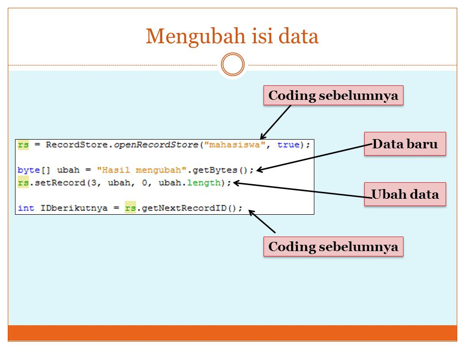 Mengubah isi data Coding sebelumnya Data baru Ubah data