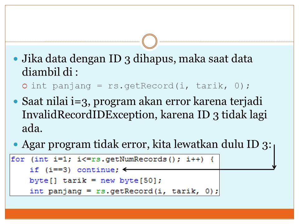 Jika data dengan ID 3 dihapus, maka saat data diambil di :