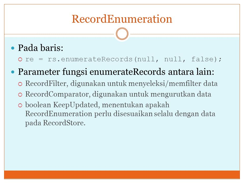 RecordEnumeration Pada baris: