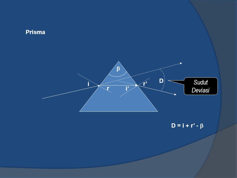 Prisma  D Sudut Deviasi i r' r i' D = i + r' - 