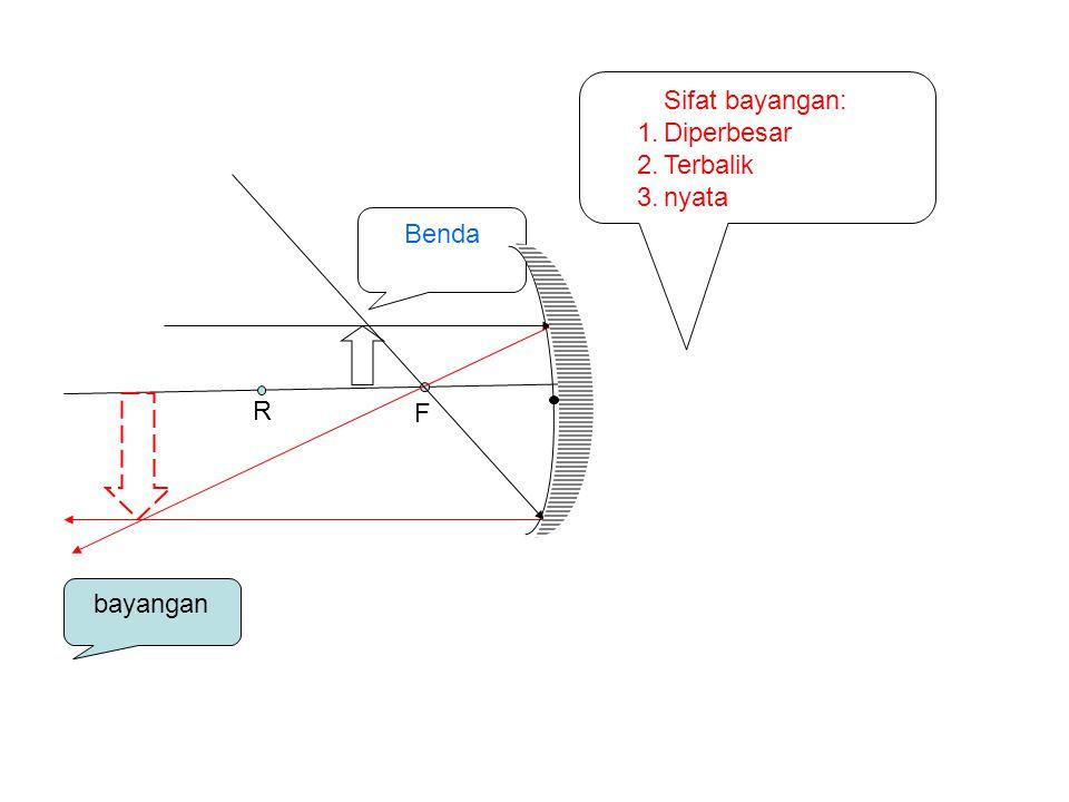 Sifat bayangan: Diperbesar Terbalik nyata Benda R F bayangan