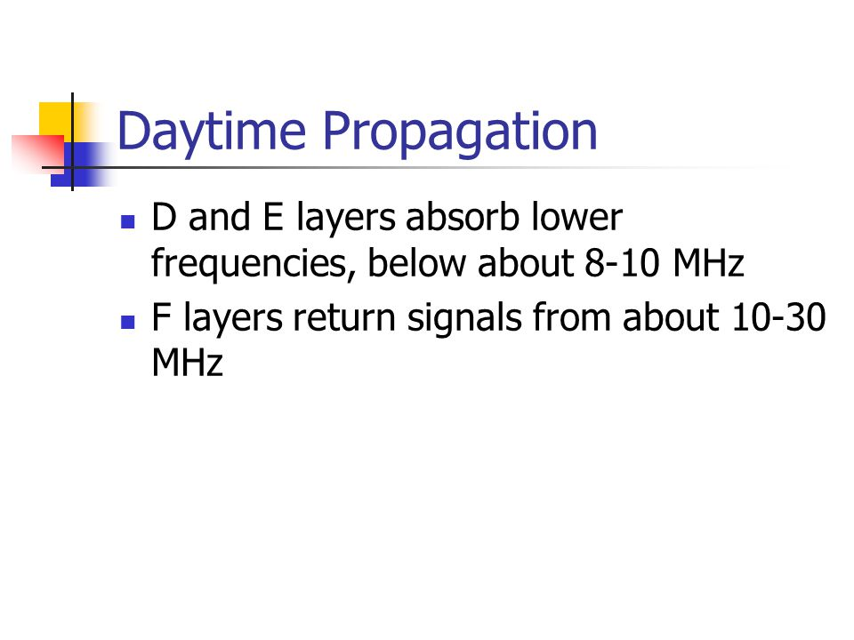Daytime Propagation D and E layers absorb lower frequencies, below about 8-10 MHz.