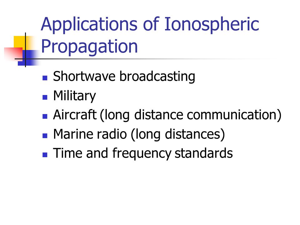 Applications of Ionospheric Propagation