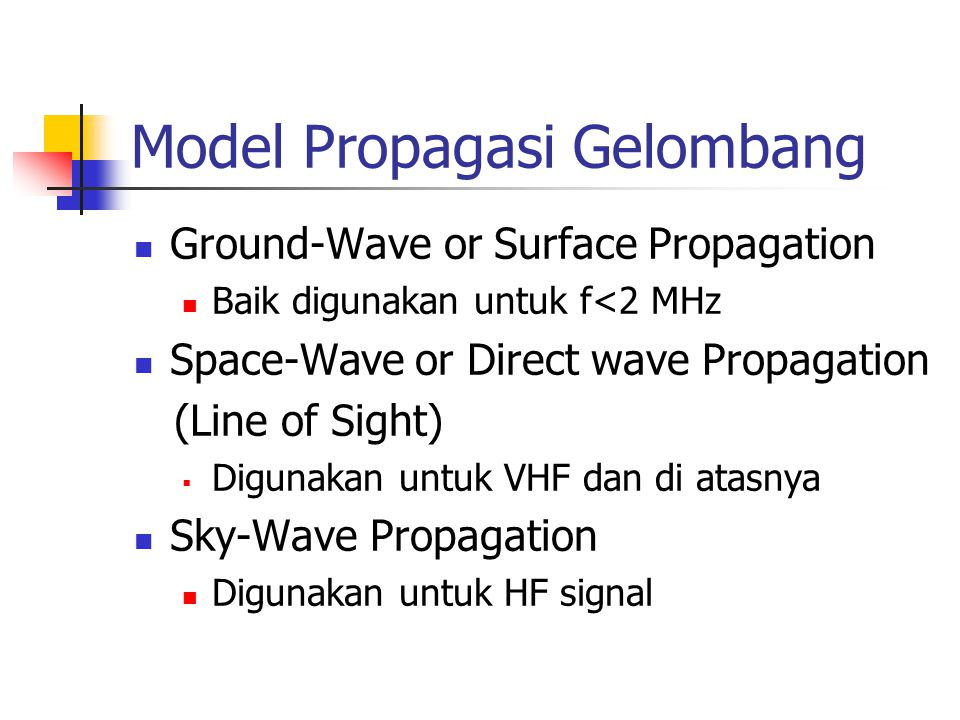 Model Propagasi Gelombang