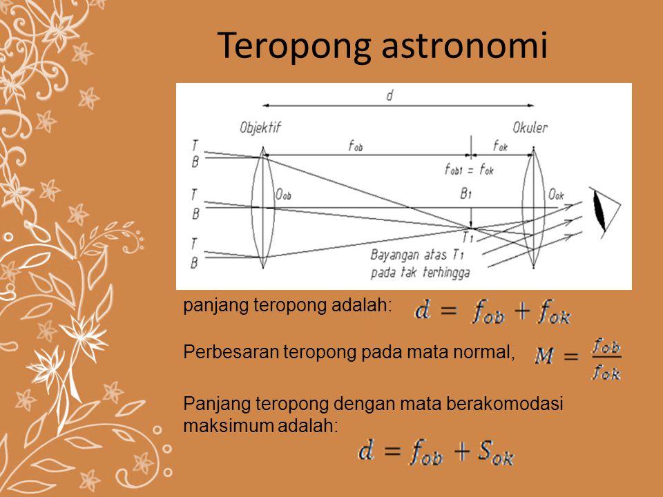 Teropong astronomi panjang teropong adalah: