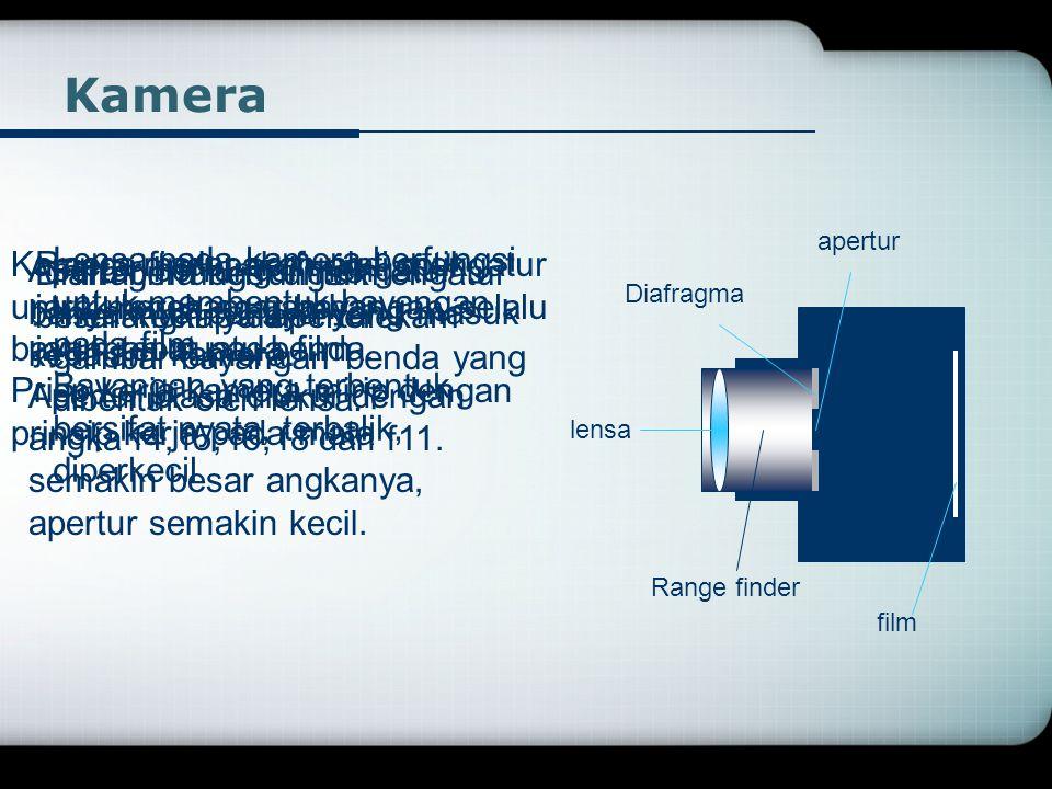 Kamera apertur. Kamera merupakan alat optik untuk merekam gambar bayangan suatu benda. Prisp kerja kamera mirip dengan prinsip kerja pada mata.