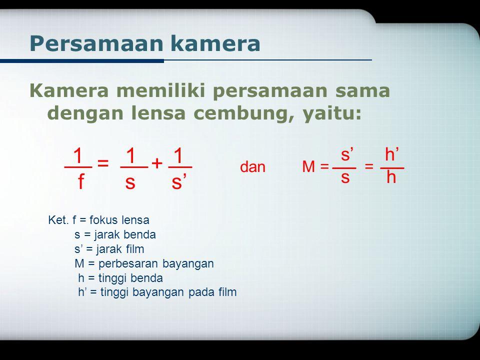 Persamaan kamera 1 1 1 = + f s s'