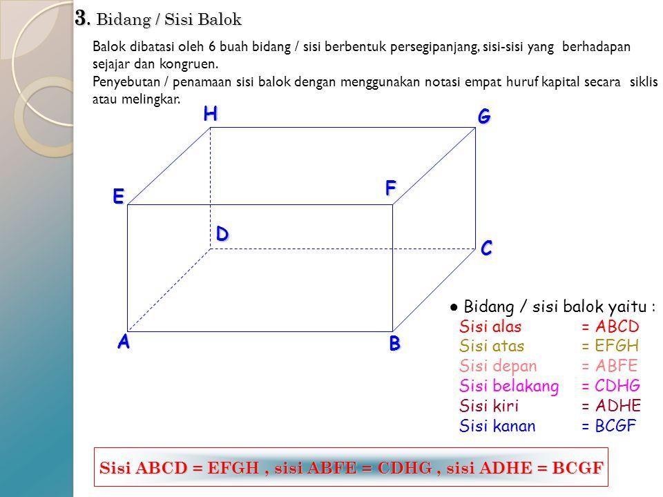 Sisi ABCD = EFGH , sisi ABFE = CDHG , sisi ADHE = BCGF