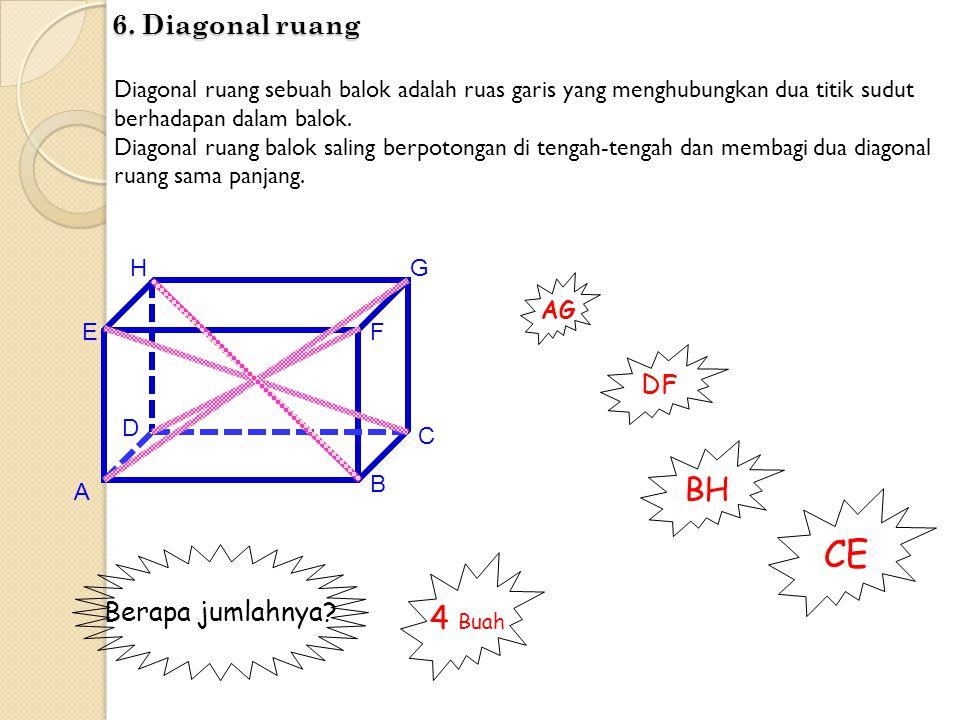 CE BH 4 Buah 6. Diagonal ruang DF Berapa jumlahnya