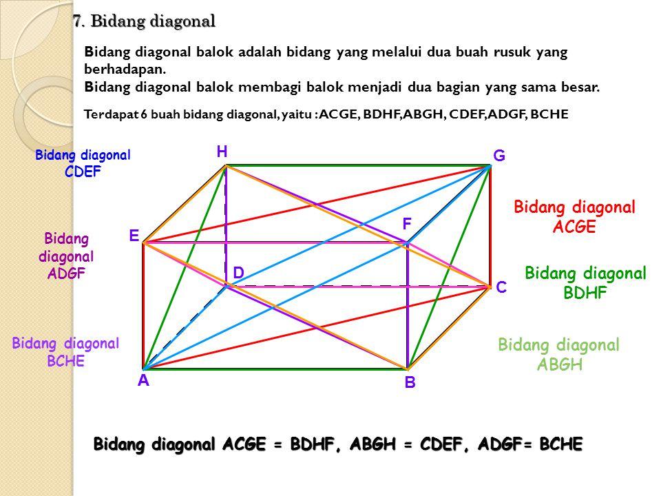 Bidang diagonal ACGE Bidang diagonal BDHF Bidang diagonal ABGH