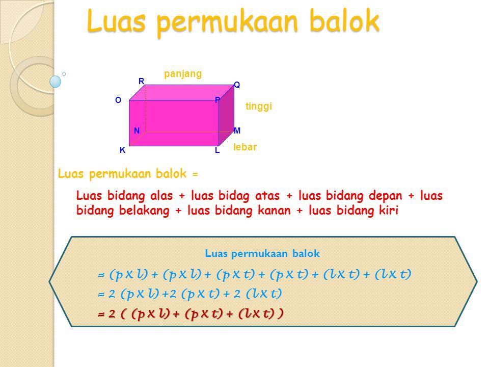 Luas permukaan balok Luas permukaan balok = Luas permukaan balok