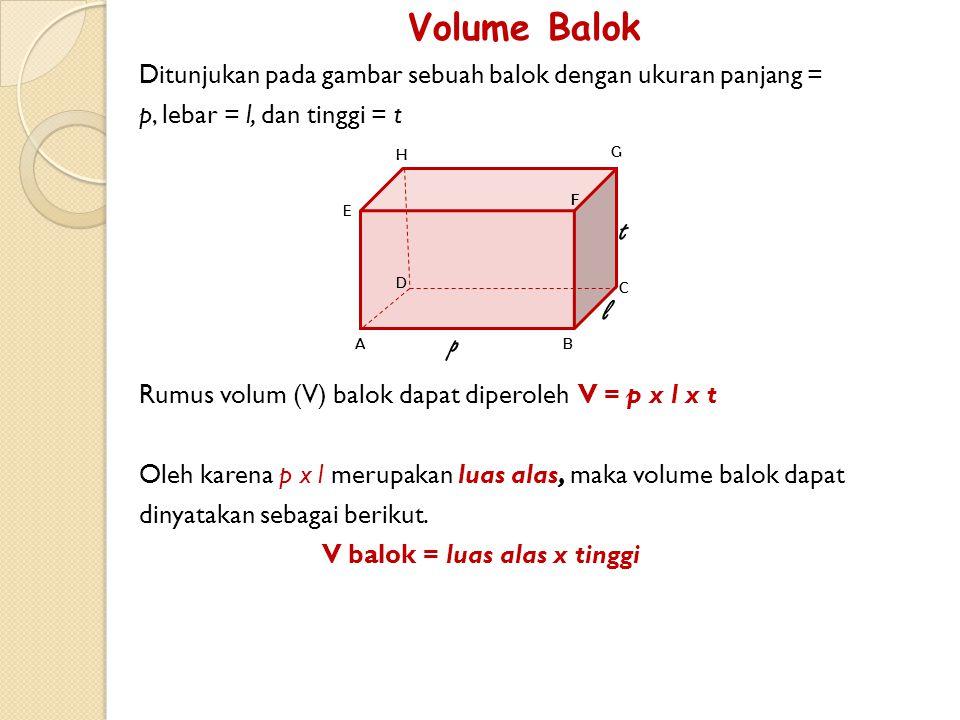 Volume Balok Ditunjukan pada gambar sebuah balok dengan ukuran panjang = p, lebar = l, dan tinggi = t.