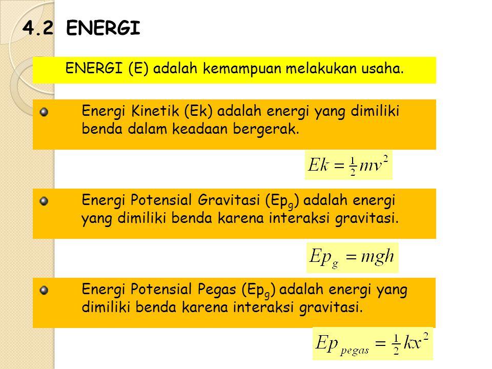 ENERGI (E) adalah kemampuan melakukan usaha.