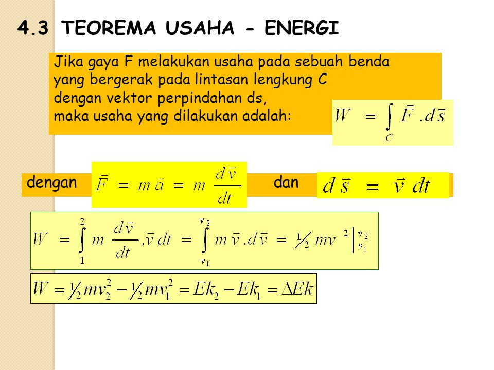 4.3 TEOREMA USAHA - ENERGI dengan dan
