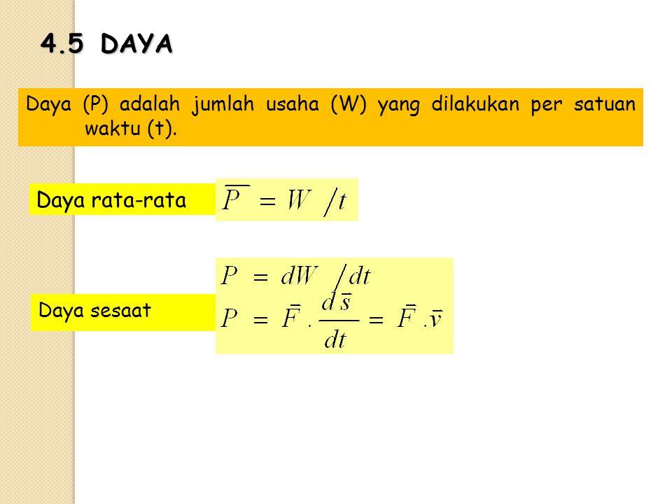 4.5 DAYA Daya (P) adalah jumlah usaha (W) yang dilakukan per satuan waktu (t).