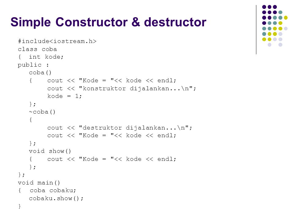 Simple Constructor & destructor