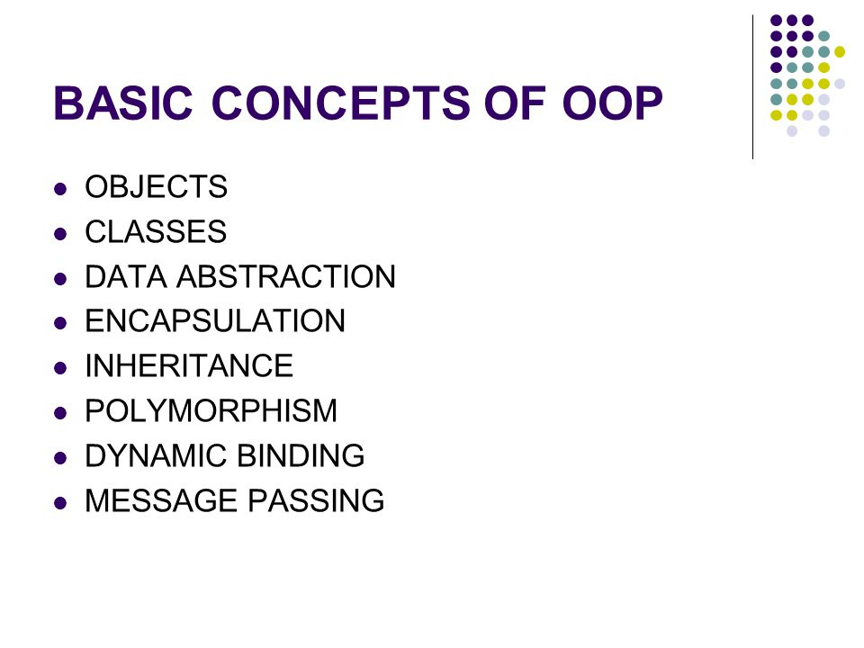BASIC CONCEPTS OF OOP OBJECTS CLASSES DATA ABSTRACTION ENCAPSULATION