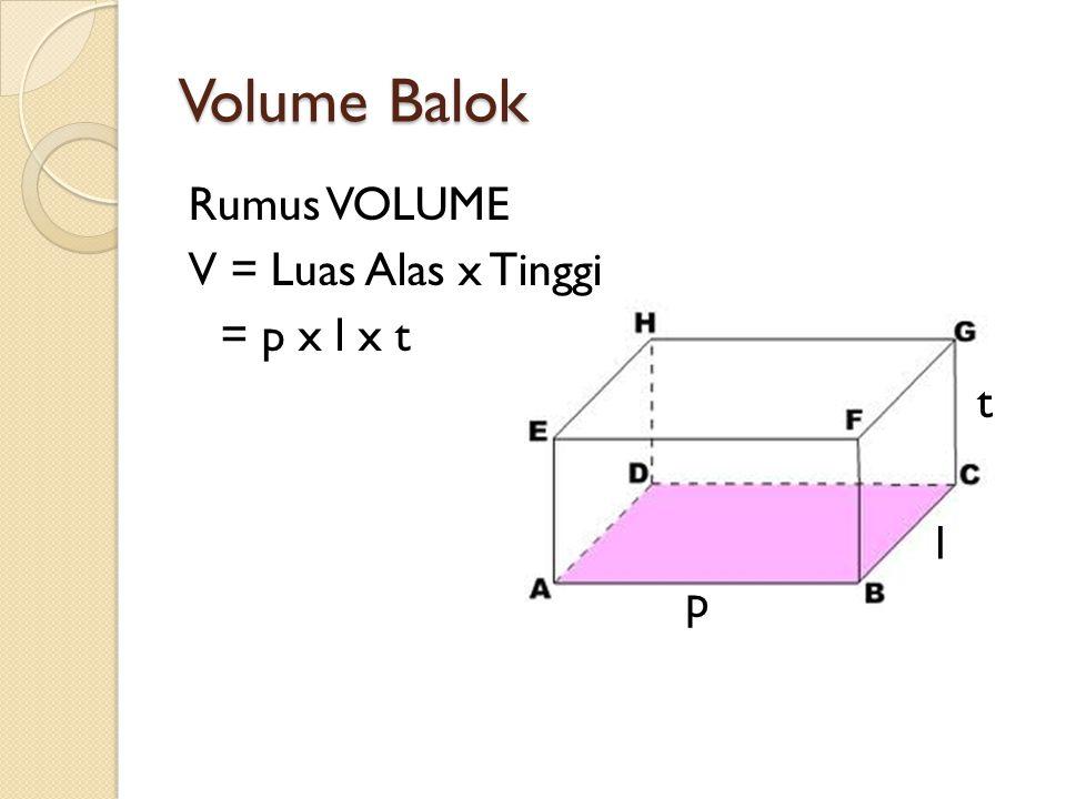 Volume Balok Rumus VOLUME V = Luas Alas x Tinggi = p x l x t t l p