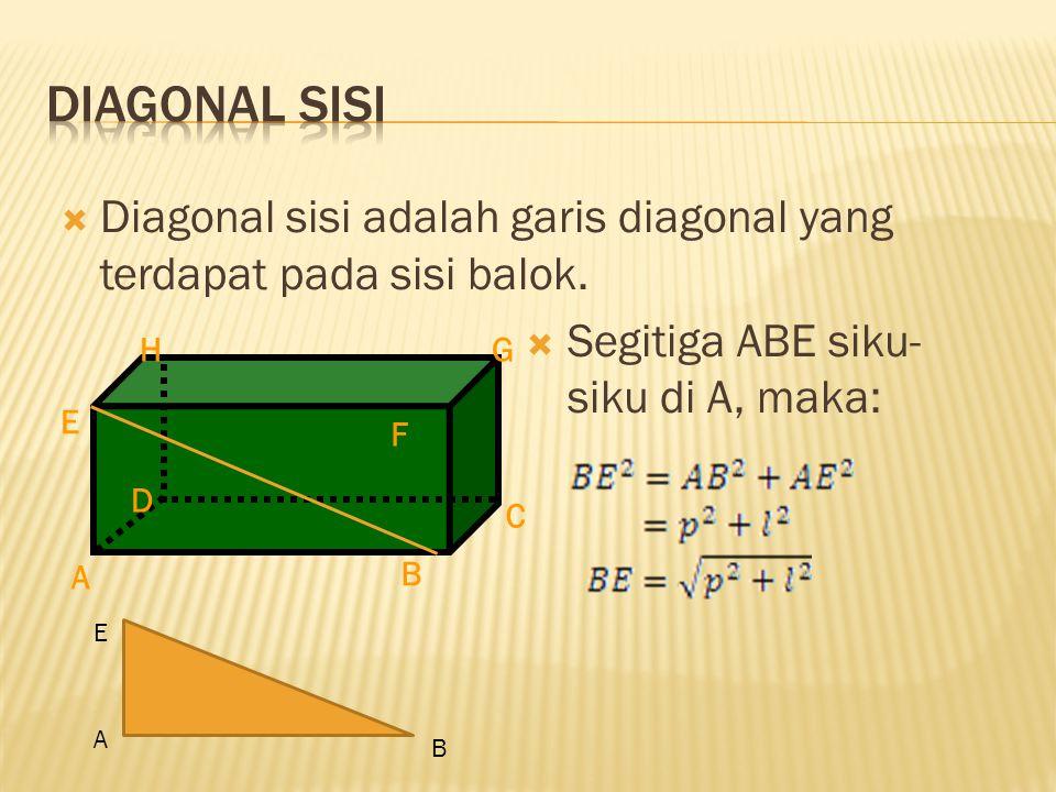 Diagonal sisi Diagonal sisi adalah garis diagonal yang terdapat pada sisi balok. Segitiga ABE siku-siku di A, maka: