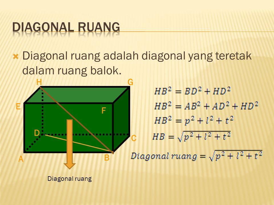 Diagonal Ruang Diagonal ruang adalah diagonal yang teretak dalam ruang balok. A. H. E. F. D. C.