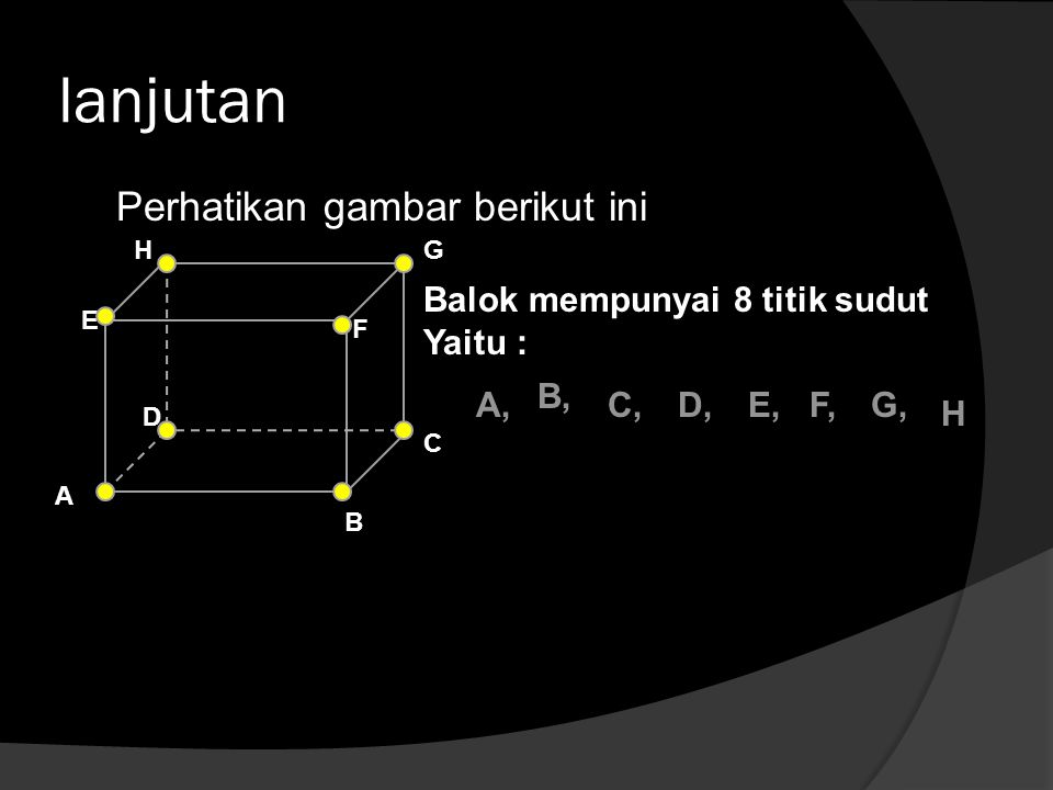 lanjutan Perhatikan gambar berikut ini Balok mempunyai 8 titik sudut