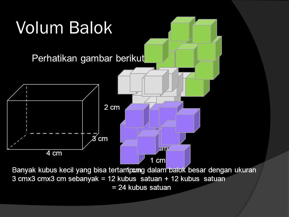 Volum Balok Perhatikan gambar berikut 2 cm 3 cm 1 cm 4 cm 1 cm
