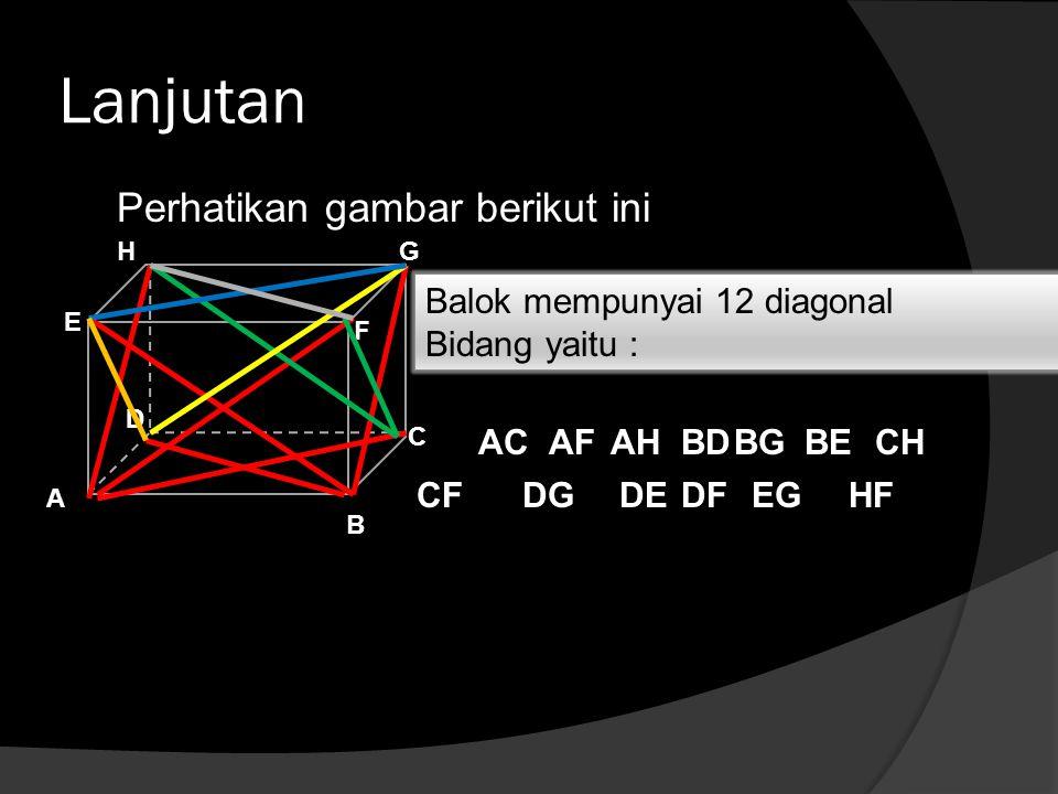 Lanjutan Perhatikan gambar berikut ini Balok mempunyai 12 diagonal