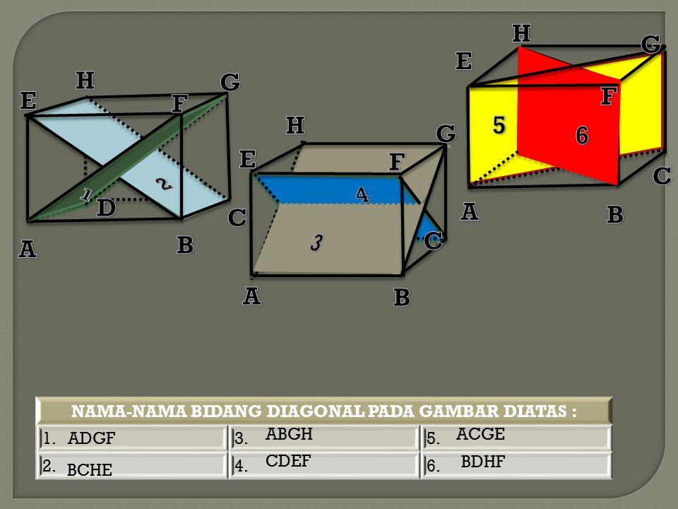 NAMA-NAMA BIDANG DIAGONAL PADA GAMBAR DIATAS :