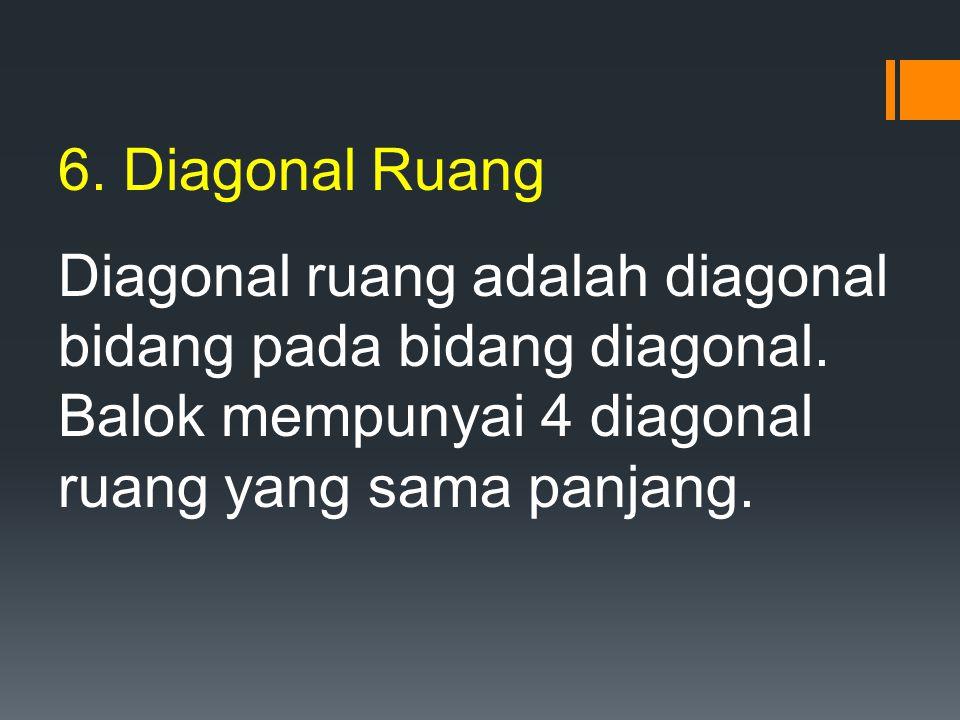 6. Diagonal Ruang Diagonal ruang adalah diagonal bidang pada bidang diagonal.