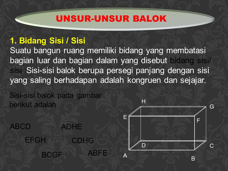 UNSUR-UNSUR BALOK 1. Bidang Sisi / Sisi