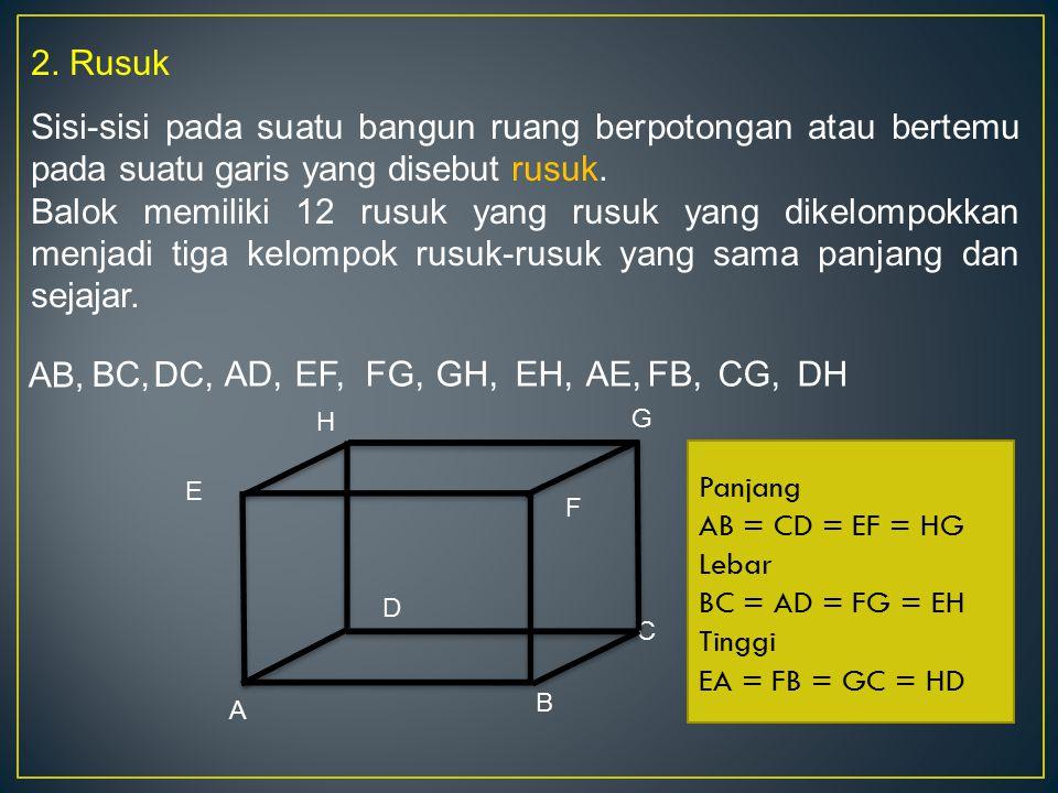 2. Rusuk Sisi-sisi pada suatu bangun ruang berpotongan atau bertemu pada suatu garis yang disebut rusuk.