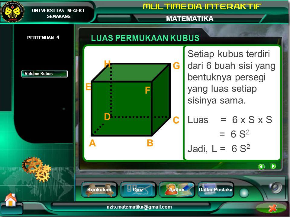 LUAS PERMUKAAN KUBUS PERTEMUAN 4. Setiap kubus terdiri dari 6 buah sisi yang bentuknya persegi yang luas setiap sisinya sama.