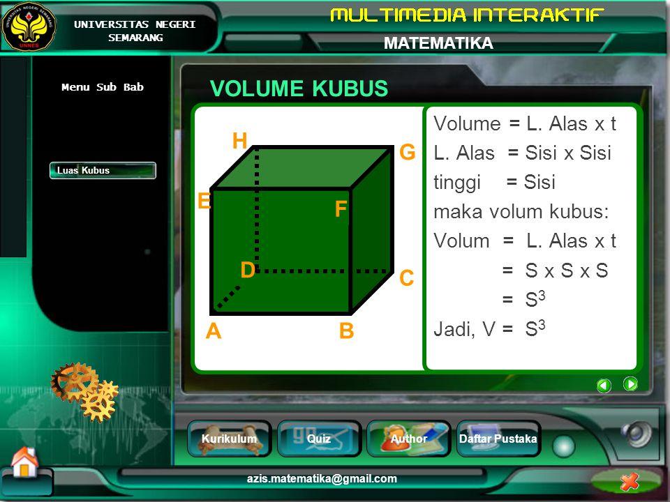 VOLUME KUBUS H G E F D C A B Volume = L. Alas x t