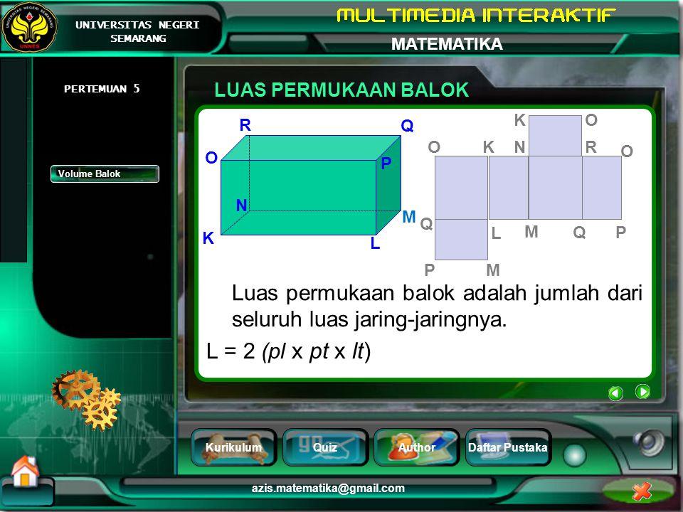 Luas permukaan balok adalah jumlah dari seluruh luas jaring-jaringnya.