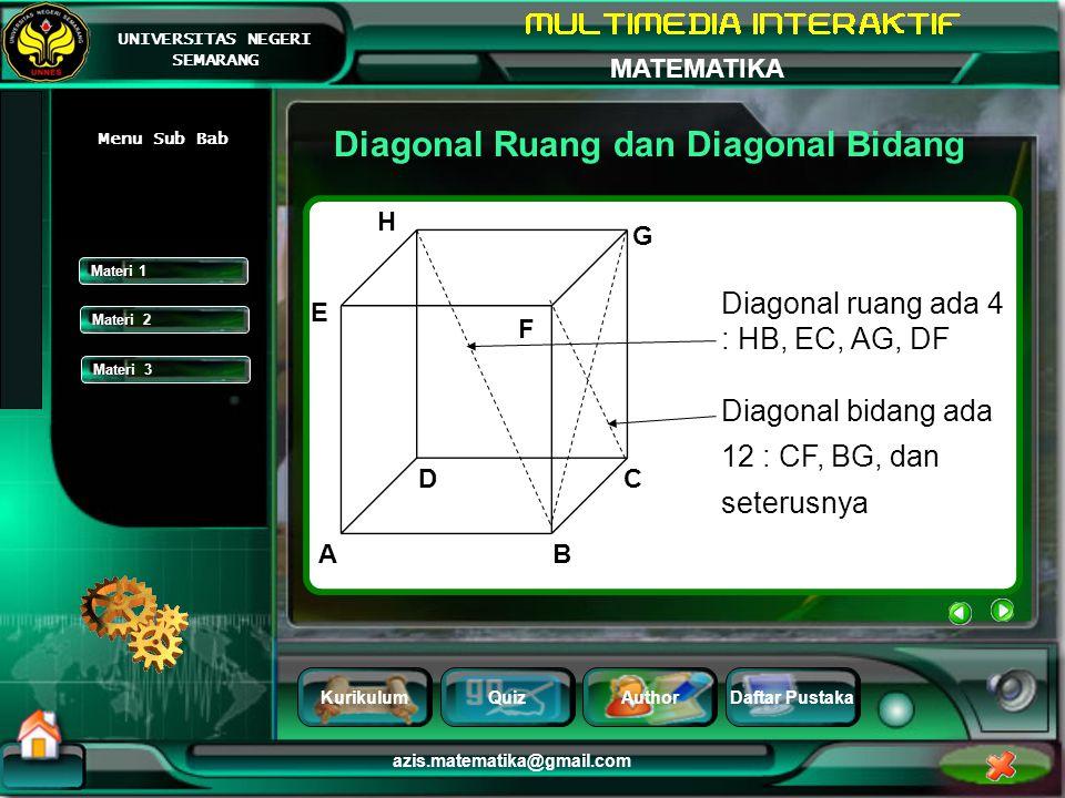 Diagonal Ruang dan Diagonal Bidang