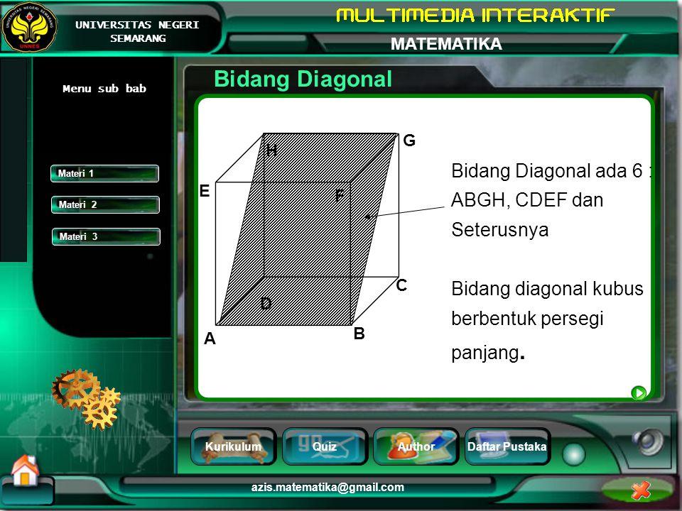 Bidang Diagonal Bidang Diagonal ada 6 : ABGH, CDEF dan Seterusnya