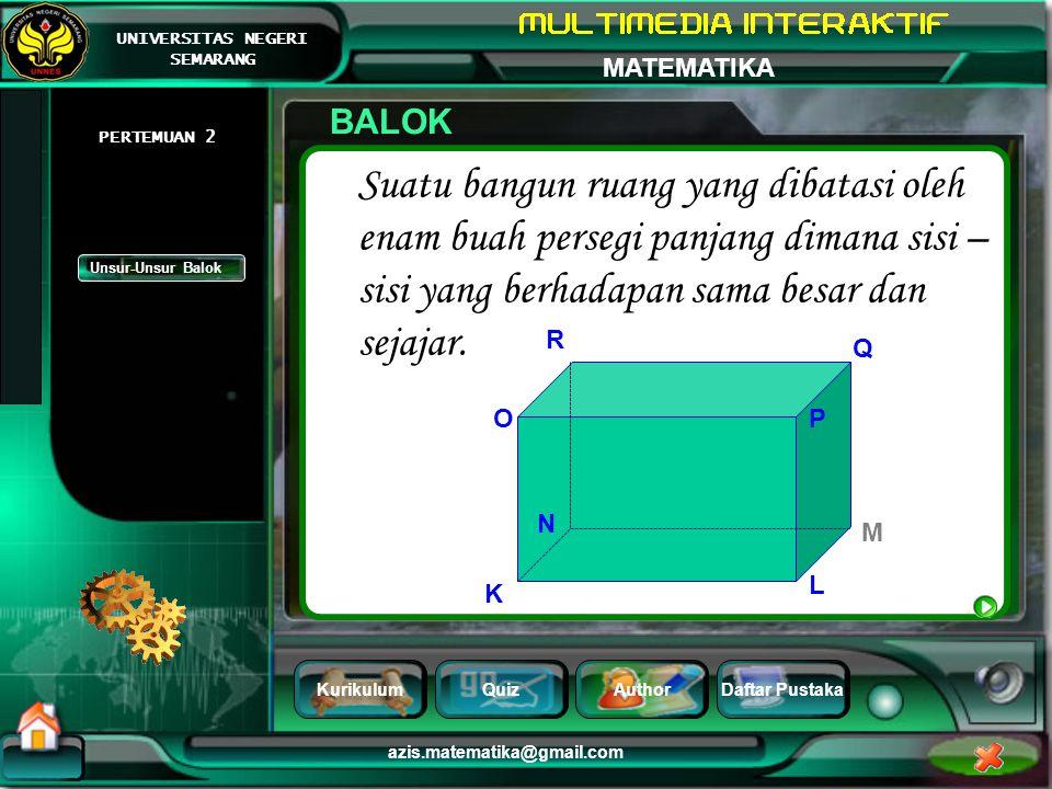 BALOK PERTEMUAN 2. Suatu bangun ruang yang dibatasi oleh enam buah persegi panjang dimana sisi – sisi yang berhadapan sama besar dan sejajar.