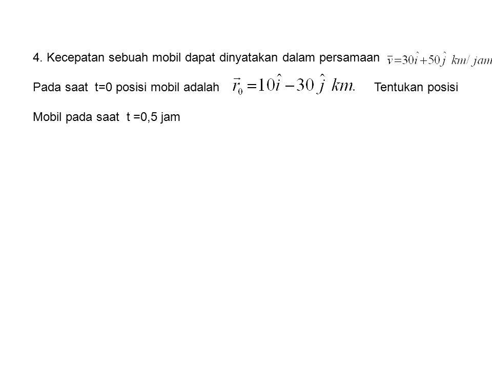 4. Kecepatan sebuah mobil dapat dinyatakan dalam persamaan