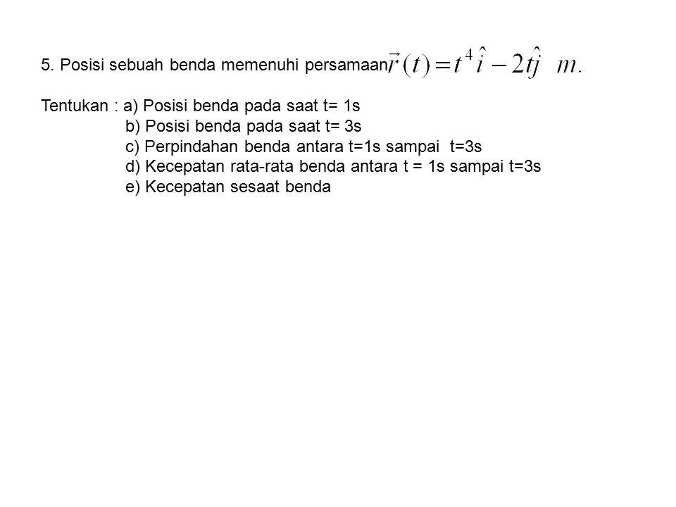 5. Posisi sebuah benda memenuhi persamaan