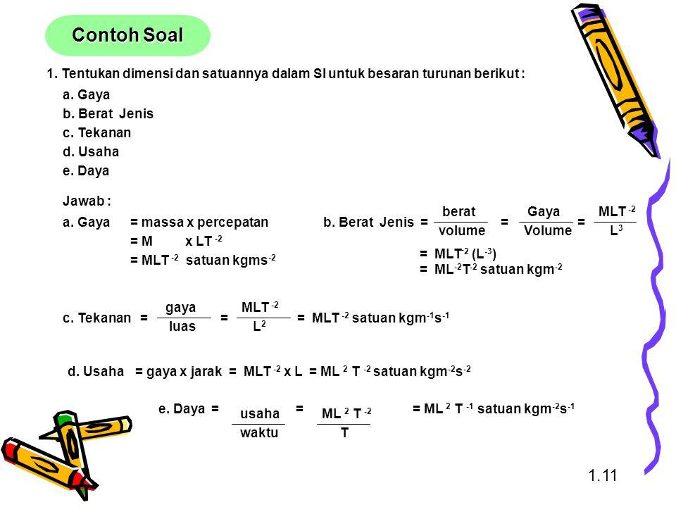 Contoh Soal 1. Tentukan dimensi dan satuannya dalam SI untuk besaran turunan berikut : a. Gaya. b. Berat Jenis.