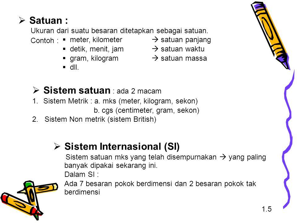 Sistem satuan : ada 2 macam